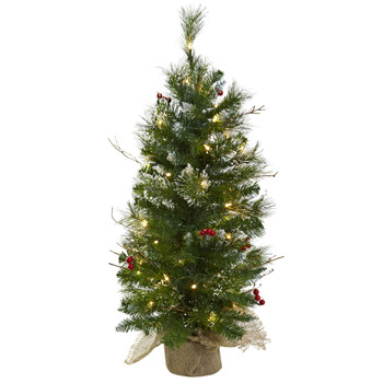 3 Christmas Tree w/Clear Lights Berries Burlap Bag - SKU #5442
