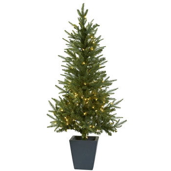 4.5 Christmas Tree w/Clear Lights Decorative Planter - SKU #5443