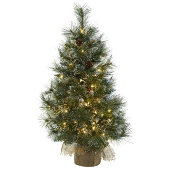 3 Christmas Tree w/Clear Lights Frosted Tips Pine Cones Burlap Bag - SKU #5444