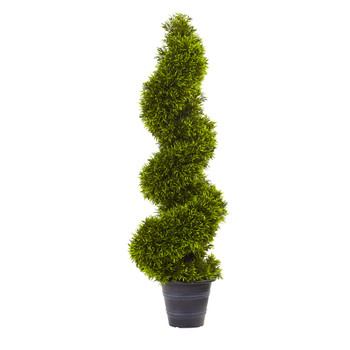 3 Grass Spiral Topiary w/Deco Planter - SKU #5450