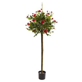 3 Rose Topiary Silk Tree - SKU #5465