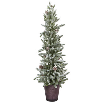 Snowy Mini Pine with Glass Vase - SKU #5472