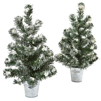 Snowy Pine Tree with Tin Set of 2 - SKU #5473-S2