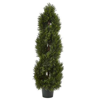 4 Double Pond Cypress Spiral Topiary UV Resistant Indoor/Outdoor - SKU #5482