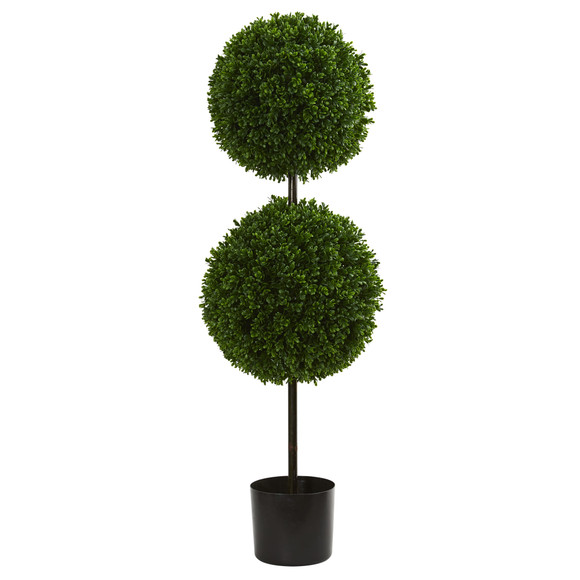 3.5 Boxwood Double Ball Artificial Topiary Tree UV Resistant Indoor/Outdoor - SKU #5494