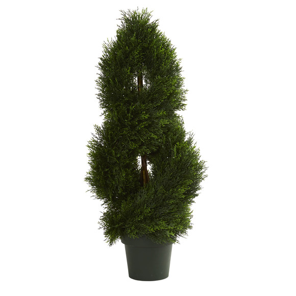 3 Double Pond Cypress Spiral Artificial Topiary Tree UV Resistant Indoor/Outdoor - SKU #5495