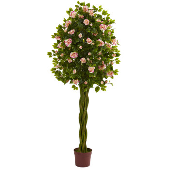 6 Rose Artificial Tree with Woven Trunk - SKU #5504
