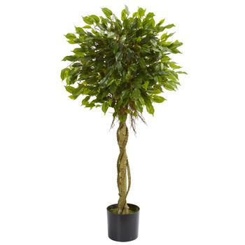 4 Ficus Artificial Topiary Tree UV Resistant Indoor/Outdoor - SKU #5530