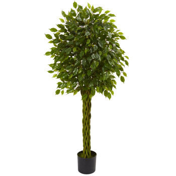 5 Ficus Artificial Tree with Woven Trunk UV Resistant Indoor/Outdoor - SKU #5531