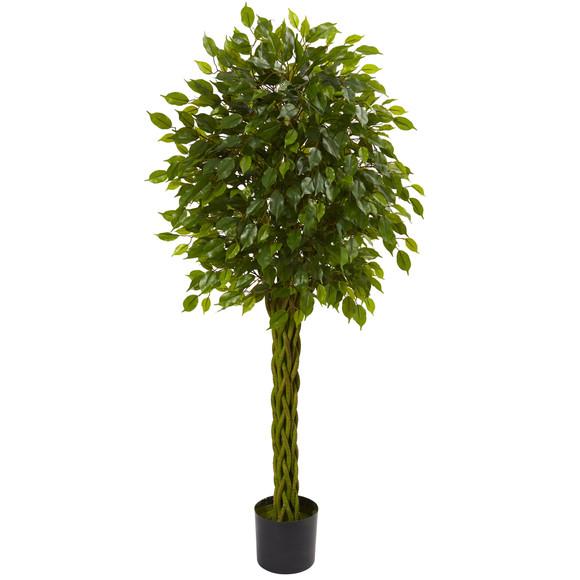 5 Ficus Artificial Tree with Woven Trunk UV Resistant Indoor/Outdoor - SKU #5531