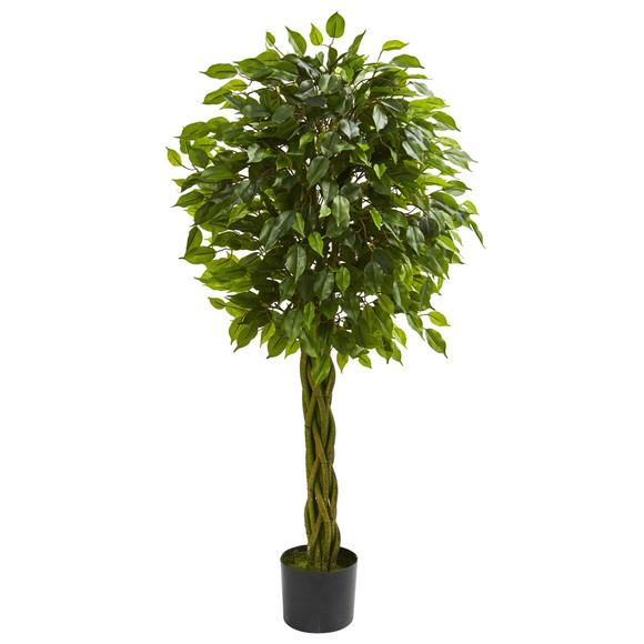 4 Ficus Artificial Tree with Woven Trunk UV Resistant Indoor/Outdoor - SKU #5532