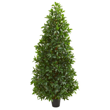 5 Bay Leaf Cone Topiary Artificial Tree UV Resistant Indoor/Outdoor - SKU #5546