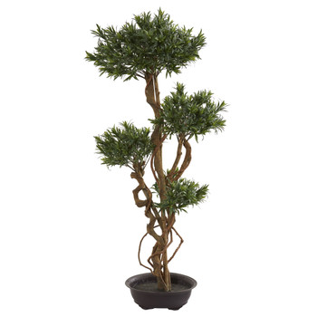 4.5 Bonsai Styled Podocarpus Artificial Tree - SKU #5557