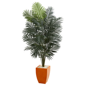 6.5 Paradise Artificial Palm Tree in Orange Planter - SKU #5601
