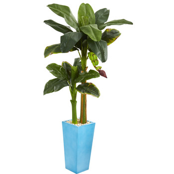 5.5 Banana Artificial Tree in Turquoise Tower Vase - SKU #5604