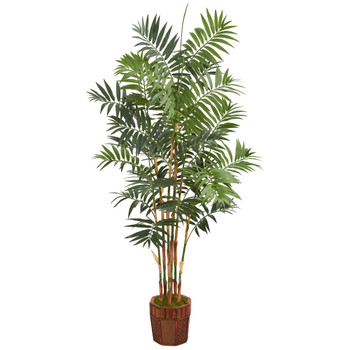 5.5 Bamboo Artificial Palm Tree in Decorative Wood Planter - SKU #5605