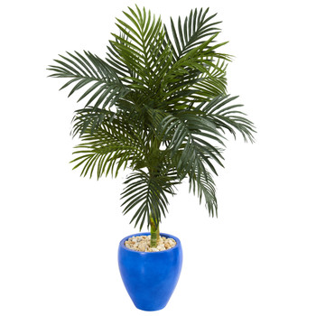 4.5 Golden Cane Artificial Palm Tree in Blue Oval Planter - SKU #5606