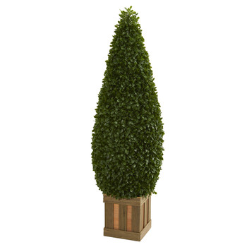 5 Boxwood Cone Topiary Artificial Tree with Decorative Planter - SKU #5607