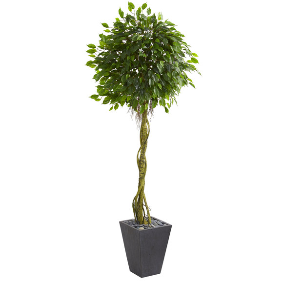 6 Ficus Artificial Tree in Slate Planter UV Resistant Indoor/Outdoor - SKU #5611