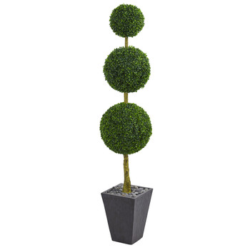 6 Boxwood Triple Ball Topiary Artificial Tree in Slate Planter UV Resistant Indoor/Outdoor - SKU #5613