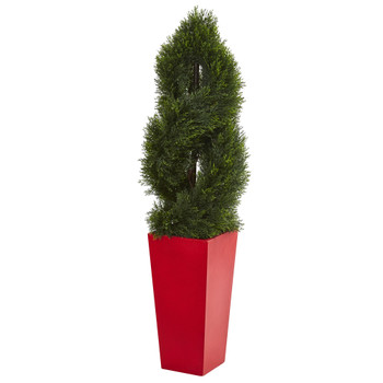4.5 Double Pond Cypress Spiral Artificial Tree in Red Planter UV Resistant Indoor/Outdoor - SKU #5617