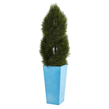 4.5 Double Pond Cypress Spiral Artificial Tree in Turquoise Planter UV Resistant Indoor/Outdoor - SKU #5618