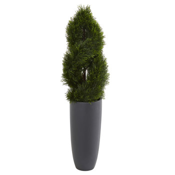 4.5 Double Pond Cypress Spiral Artificial Tree in Cylinder Planter UV Resistant Indoor/Outdoor - SKU #5619