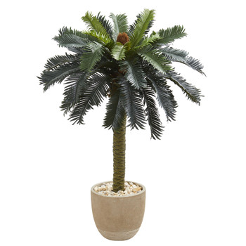 3.5 Sago Palm Artificial Tree in Sandstone Planter - SKU #5620