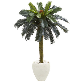 4 Sago Palm Artificial Tree in White Planter - SKU #5621