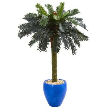 4 Sago Palm Artificial Tree in Glazed Blue Planter - SKU #5622
