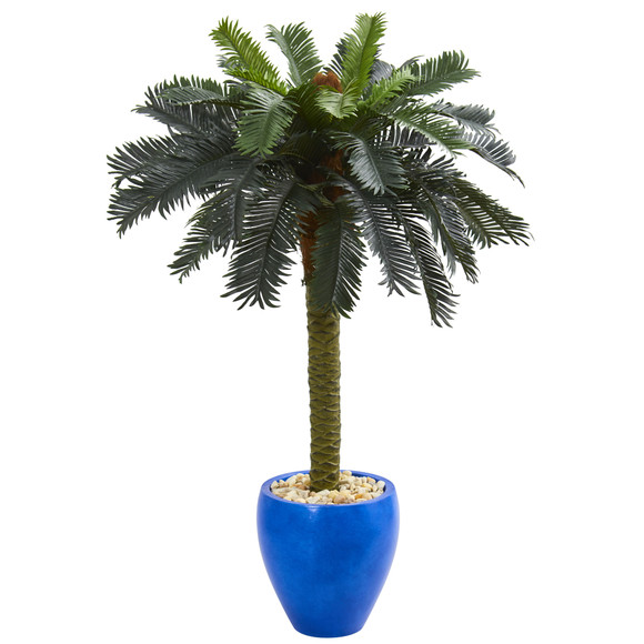 4 Sago Palm Artificial Tree in Glazed Blue Planter - SKU #5622