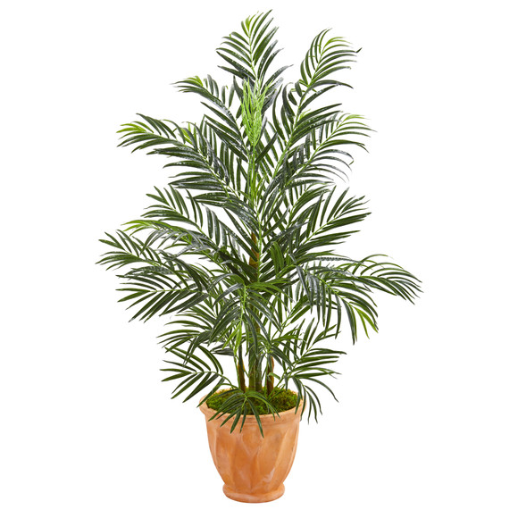 4 Areca Palm Artificial Tree in Terra-cotta Planter UV Resistant Indoor/Outdoor - SKU #5623