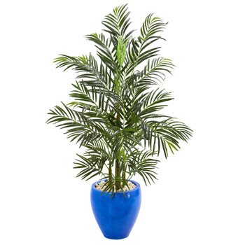 4.5 Areca Palm Artificial Tree in Glazed Blue Planter UV Resistant Indoor/Outdoor - SKU #5624