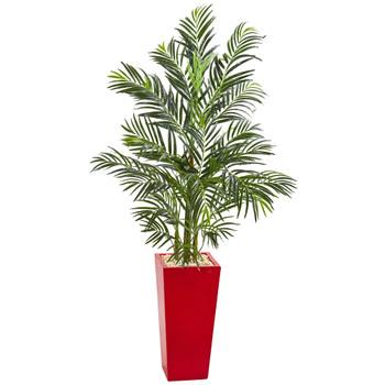 5 Areca Palm Artificial Tree in Red Planter UV Resistant Indoor/Outdoor - SKU #5625