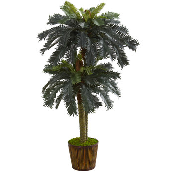 5.5 Double Sago Palm Artificial Tree in Wood Planter - SKU #5626