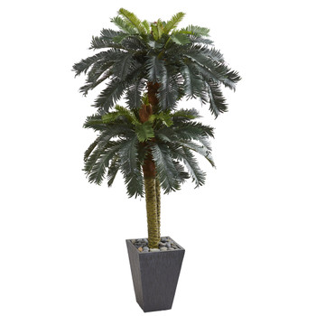 6 Double Sago Palm Artificial Tree Slate Finished Planter - SKU #5627