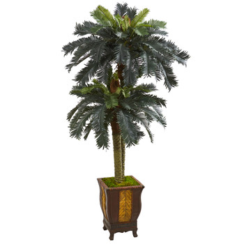 6 Double Sago Palm Artificial Tree in Designer Planter - SKU #5628