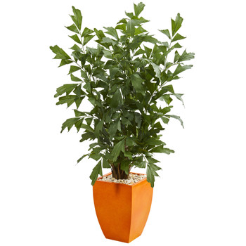 5 Fishtail Artificial Palm Tree in Orange Planter - SKU #5632