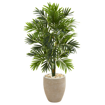 4 Areca Artificial Palm Tree in Sand Colored Planter - SKU #5636