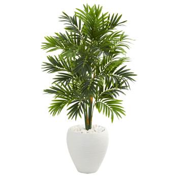 4 Areca Artificial Palm Tree in White Planter - SKU #5637