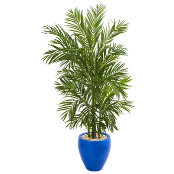 5.5 Areca Palm Artificial Tree in Blue Planter - SKU #5644