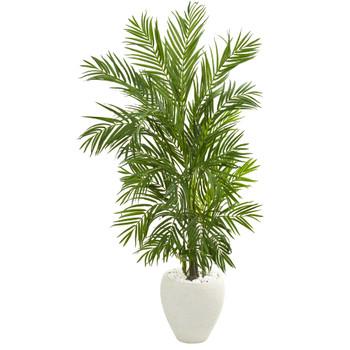 5 Areca Palm Artificial Tree in White Planter - SKU #5645