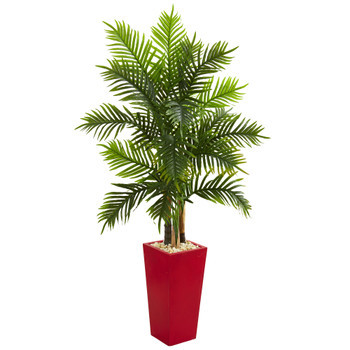 5.5 Areca Palm Artificial Tree in Red Planter Real Touch - SKU #5647