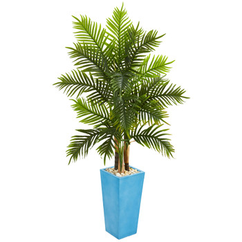 5.5 Areca Palm Artificial Tree in Turquoise Planter Real Touch - SKU #5648