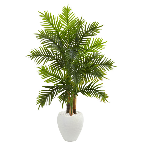 5 Areca Palm Artificial Tree in White Planter Real Touch - SKU #5649