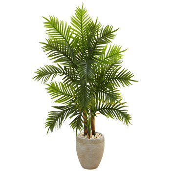 5 Areca Palm Artificial Tree in Sand Colored Planter Real Touch - SKU #5650