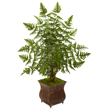 Ruffle Fern Artificial Palm Tree in Metal Planter - SKU #5654