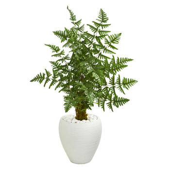 3.5 Ruffle Fern Artificial Palm Tree in White Planter - SKU #5655
