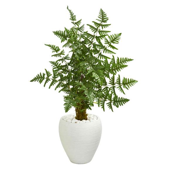 3.5 Ruffle Fern Artificial Palm Tree in White Planter - SKU #5655