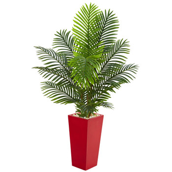 5 Paradise Palm Artificial Tree in Red Planter - SKU #5659
